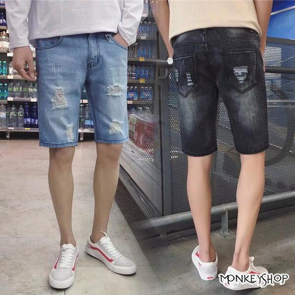 《MonkeyShop》【MYBA605】洗舊直筒修身抓破水洗牛仔短褲-2色