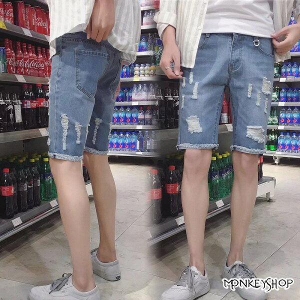 《MonkeyShop》【MYBA606】個性不收邊抓鬚褲管休閒牛仔短褲