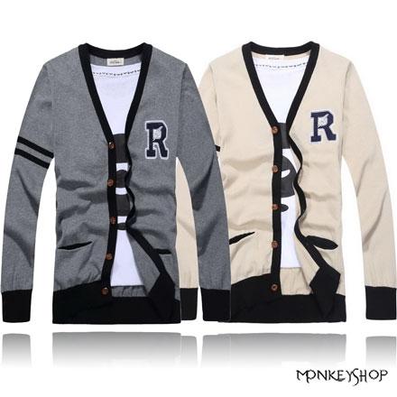 【A10550】韓版休閒電繡字母R圖騰針織罩衫外套-2色《MonkeyShop》