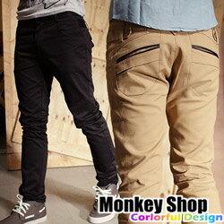 Monkey Shop:《MonkeyShop》【A30062】韓版簡約風韓系後口袋拼皮修身直筒時裝褲-三色