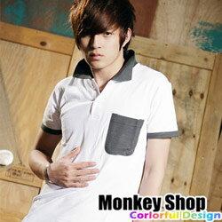 《Monkey Shop》【A71261】嚴選時尚單品 潮流指標 配色領口口袋POLO衫-共六色 - 限時優惠好康折扣