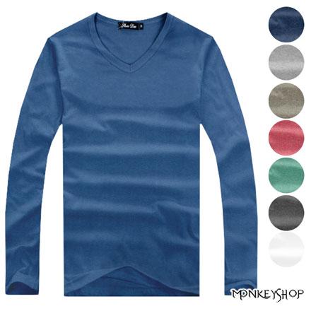 ~A73531~MIT 製極簡日系多彩素色合身V領長袖T恤~10色~Monkey Shop