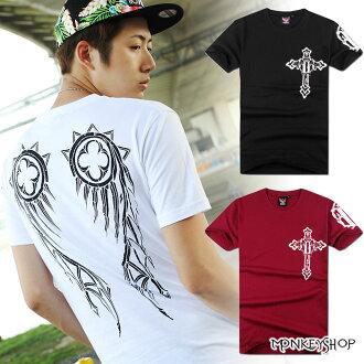 【A73873】MIT英式龐克潮流十字架印花棉質短袖T恤-3色《Monkey Shop》