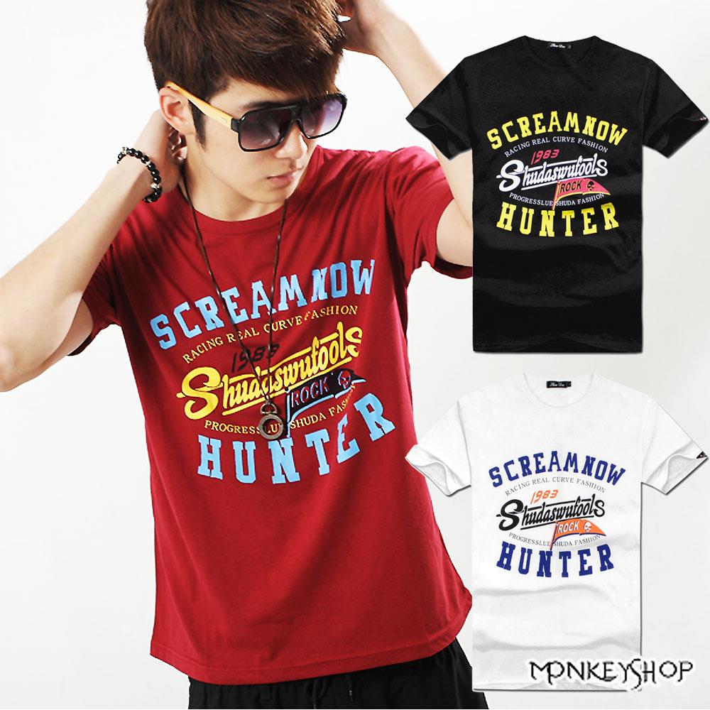 【A73896】 MIT純棉HUNTER字母印花短袖T恤-3色《Monkey Shop》