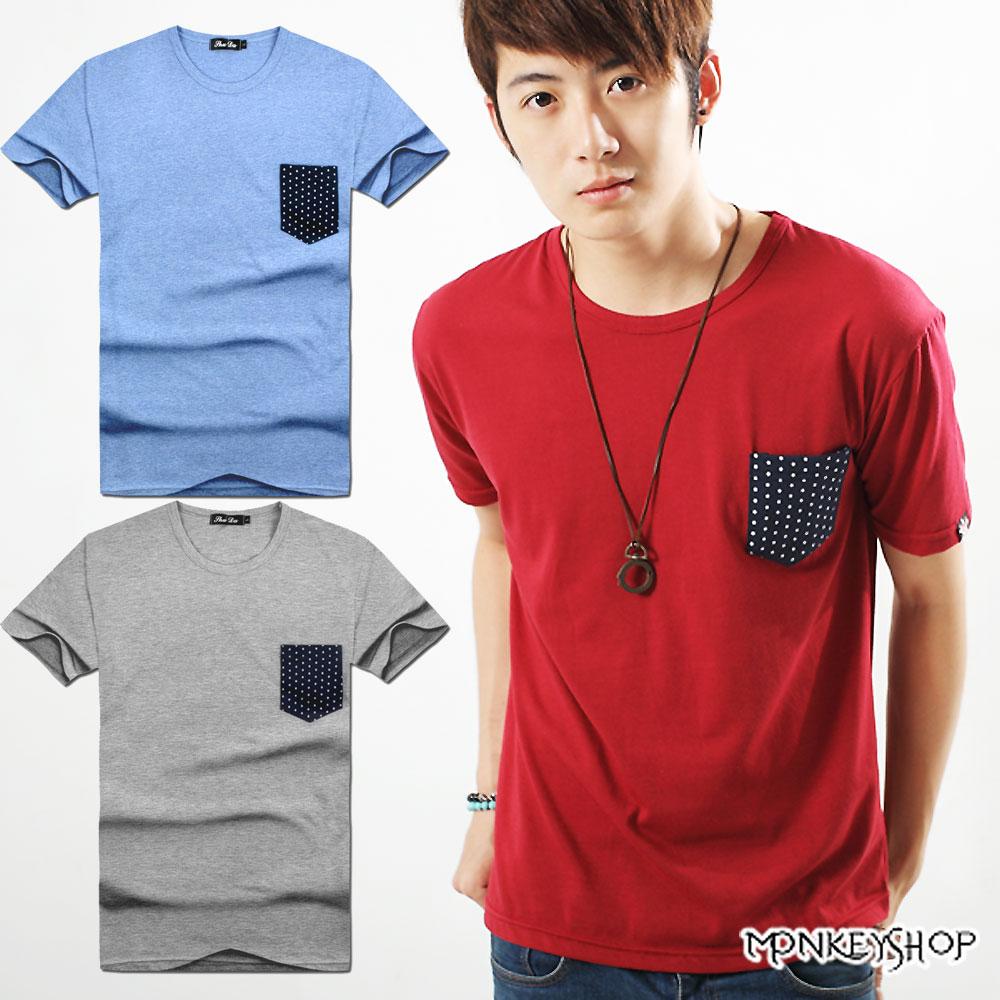 【A73899】MIT極簡點點口袋拼接短袖T恤上衣-3色《Monkey Shop》
