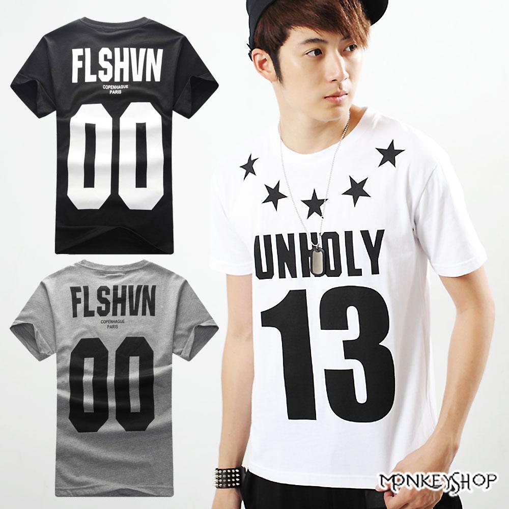 【A73922】MIT運動休閒風星星數字13印花短袖T恤-3色《Monkey Shop》