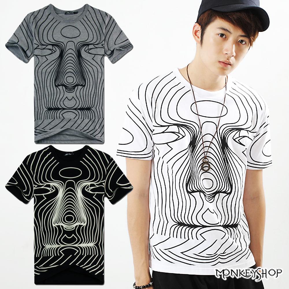 ~A73923~MIT純棉潮流3D立體人臉印花短袖T恤~3色~Monkey Shop~