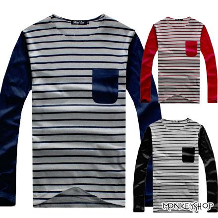【A73973】MIT台灣製美式休閒橫條紋拼接口袋長袖T恤-3色《MonkeyShop》