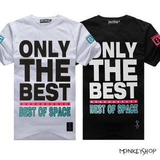 【BJJ4893】MIT純棉ONLY THE BEST 滿版字母印花短袖T恤-2色《Monkey Shop》