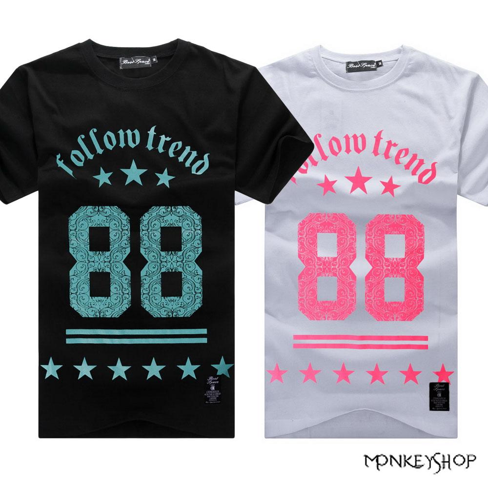 【BJJ4918】MIT潮流圖騰88數字印花純棉短袖T恤-2色《Monkey Shop》