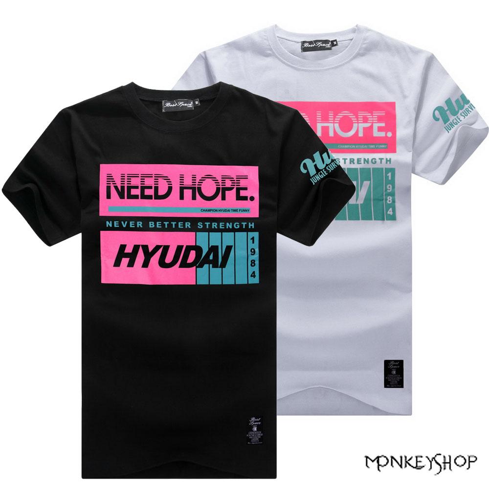 【BJJ4973】MIT純棉NEED HOPE螢光色系印花短袖T恤-2色《Monkey Shop》