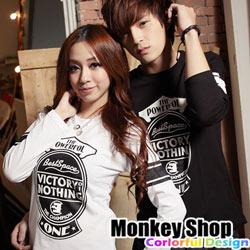 《MonkeyShop》【BJJ6627】潮流風格美式潮流經典配色英字印花MIT純棉長袖T恤‧情侶款-共三色