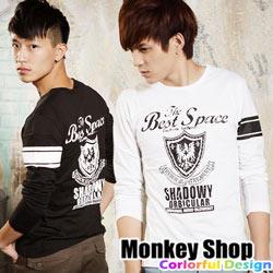 《Monkey Shop》【BJJ8272】潮流風格 型男首選 英式盾牌古著長袖T恤-共三色