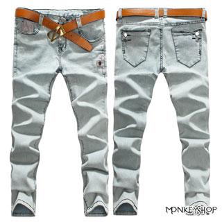 【BJK3043】高磅數窄版韓版撞色車線釘釦休閒顯瘦單寧褲牛仔褲九分褲《MonkeyShop》