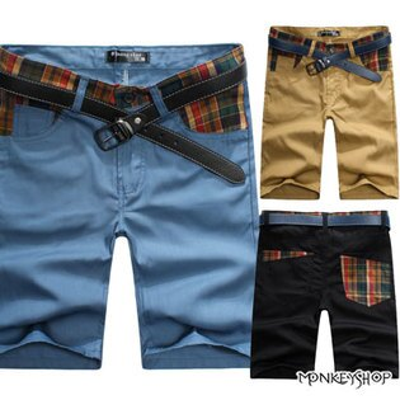 【BJK3075】韓版格紋撞色拼接造型五分工作短褲-3色《MonkeyShop》