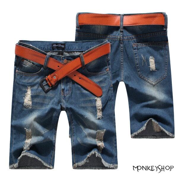 Monkey Shop:【BJK3697】潮男首選褲管抽鬚深色單寧牛仔短褲《MonkeyShop》