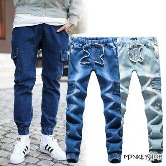 【BJK3698】韓版單寧牛仔束口褲口袋慢跑褲JOGGER PANTS-2色《Monkey Shop》