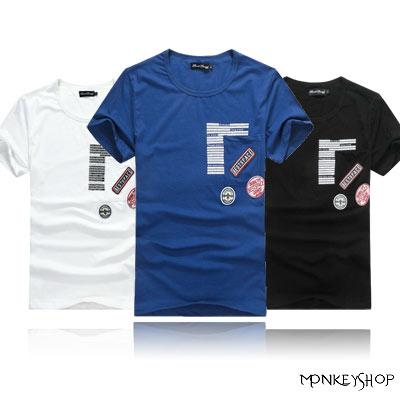 ~BJK6304~韓系軍風 徽章拼貼口袋 棉質短袖T恤~3色~Monkey Shop~