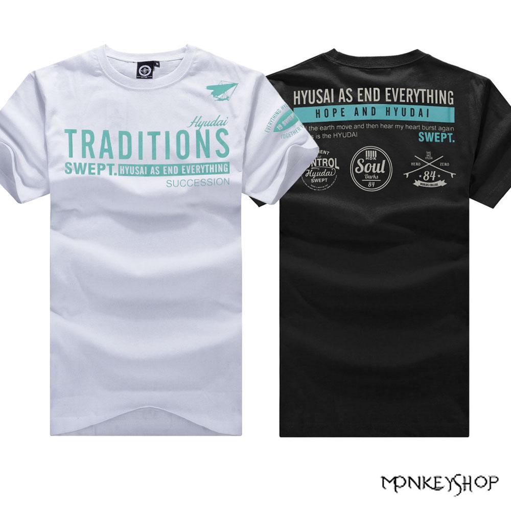 【BMT4948】MIT純綿潮流TRADITIONS背後三徽章印花設計短袖T恤-2色《Monkey Shop》