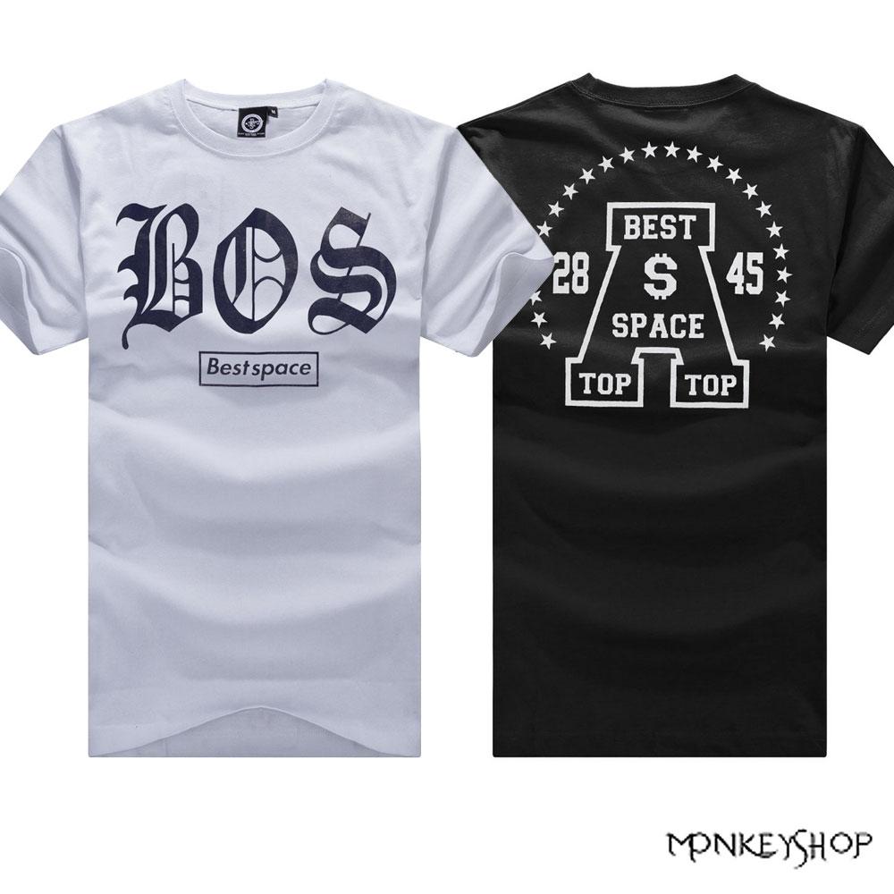 ~BMT4958~MIT純綿潮流BOS羅馬字母印花 短袖T恤~2色~Monkey Shop