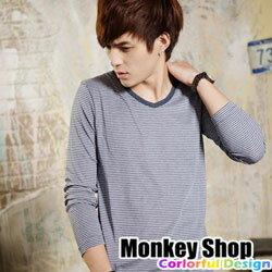 《Monkey Shop》【BSG0083】韓系型男休閒質感MIT無印細橫條V領長袖T恤-四色