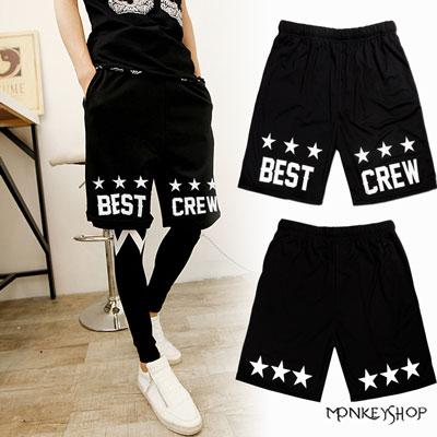 【BSG2319】韓版黑潮時尚美式星星印花縮腰網眼球褲短褲 MIT透氣材質《Monkey Shop》