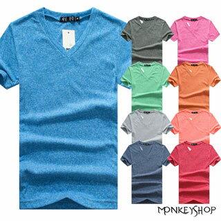 MIT純棉【BSG6203】多彩色系韓風混色棉粒布V領短袖上衣T恤-12色《Monkey Shop》
