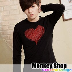 《Monkey Shop》【BSG9599】潮流風格 型男 線條手繪感愛心長T-共三色