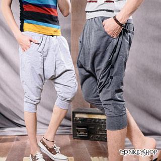 【BSN3100】韓版休閒百搭彈性縮腰長褲七分褲飛鼠褲-3色《Monkey Shop》