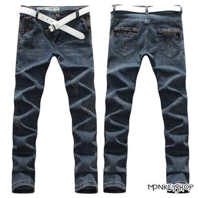 【BSN3298】韓版鬼爪破壞皮標顯瘦單寧牛仔褲《MonkeyShop》