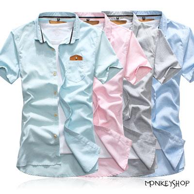 【BSN3337】韓版馬卡龍色系皮標素面中性短袖襯衫-4色《Monkey Shop》
