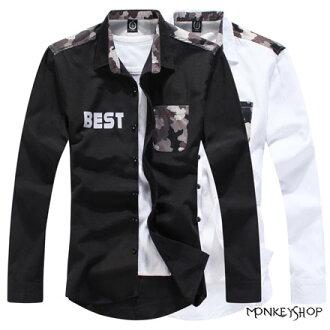 【BSN3373】 雅痞時裝迷彩拼接BEST工作風長袖襯衫-2色《Monkey Shop》
