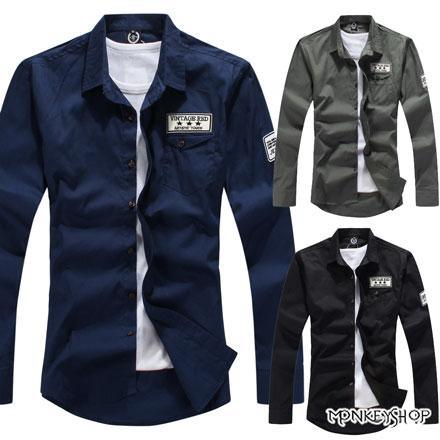 【BSN3375】 街頭軍裝風星星貼布工作風長袖襯衫-3色《Monkey Shop》
