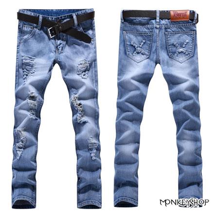 【BSN3636】韓版鬼爪刷破貓鬚水洗刷白單寧牛仔褲《MonkeyShop》