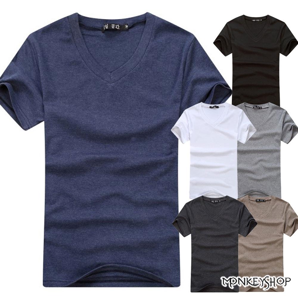 【BSGX0005】MIT純綿好感度簡約休閒素面V領棉上衣-6色《Monkey Shop》