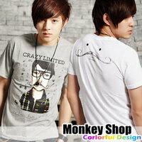 《Monkey Shop》雜誌推薦款 簡約百搭 crazy limited翹鬍子人短袖T恤2色