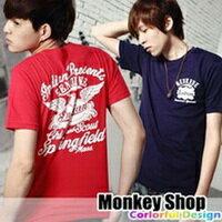 ~Monkey Shop~~C11101~雜誌 款 簡約百搭 左胸小圖騰INDIAN LO