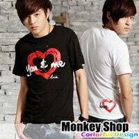 《MonkeyShop》雜誌推薦款簡約百搭簡約YOU&ME塗鴉愛心手繪風印刷設計短袖T2色