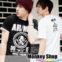 ~Monkey Shop~雜誌 款 簡約百搭 黑白配色老鷹頭圖騰標ARMY短袖T恤2色