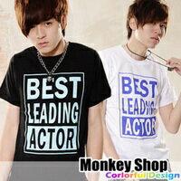 《MonkeyShop》【C1181】街頭潮流簡約BESTLEADING方塊印刷設計短袖T恤2色