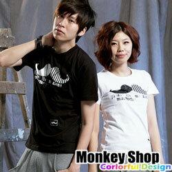 《MonkeyShop》【C12037】型男必備潮流款超優質感瘋狂達利翹鬍子短T-共二色