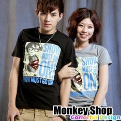 《Monkey Shop》【C12053】MIT 潮流新指標 小超人排列字母短T-共三色