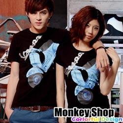 《Monkey Shop》【C12056】獨創設計款 MIT.復古藍VESPA印花短袖T-2色