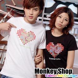 《MonkeyShop》【C12062】經典實搭街頭流行款馬賽克牧丹印花愛心短T-共二色