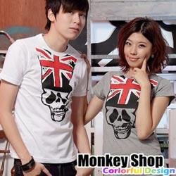 《MonkeyShop》【C12063】經典實搭街頭流行款英旗高帽煙槍骷髏短T-共二色