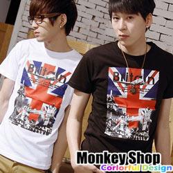 《Monkey Shop》【C30010】英式龐克國旗倫敦大橋MIT純棉短袖T恤-三色