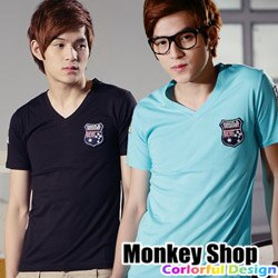 《Monkey Shop》【C30018】韓版設計英國國旗拼徽章V領時裝風雅痞短袖T恤-三色