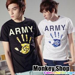 《Monkey Shop》【C30020】韓版設計和平主張迷彩手印ARMY短袖T恤-二色