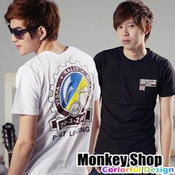 《Monkey Shop》【C30021】韓版設計復古偉士機車背面大印花短袖T恤-三色