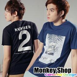 《MonkeyShop》【C30022】韓版設計水波紋燙銀2號印花MIT純棉短袖T恤-三色